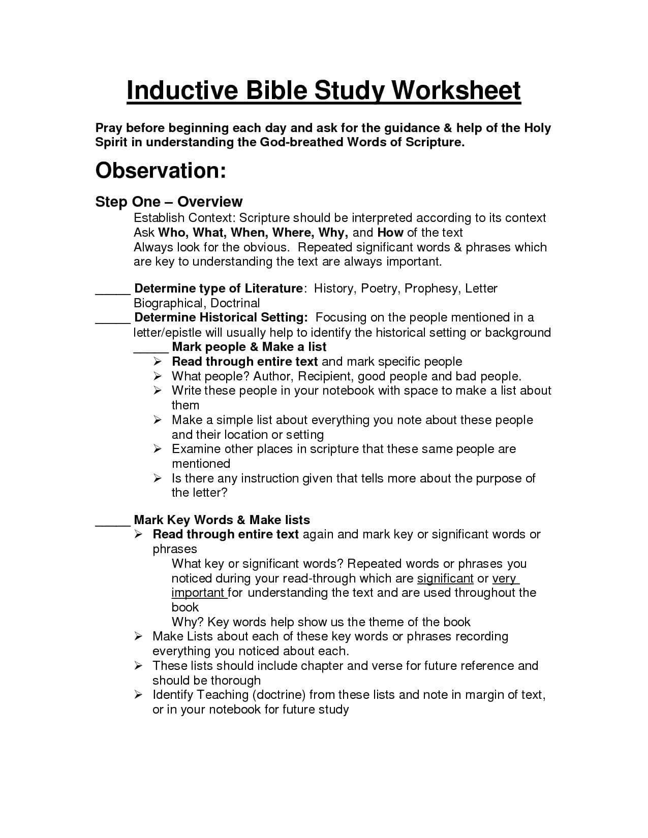 Printable Bible Study Worksheets For Adults Printable