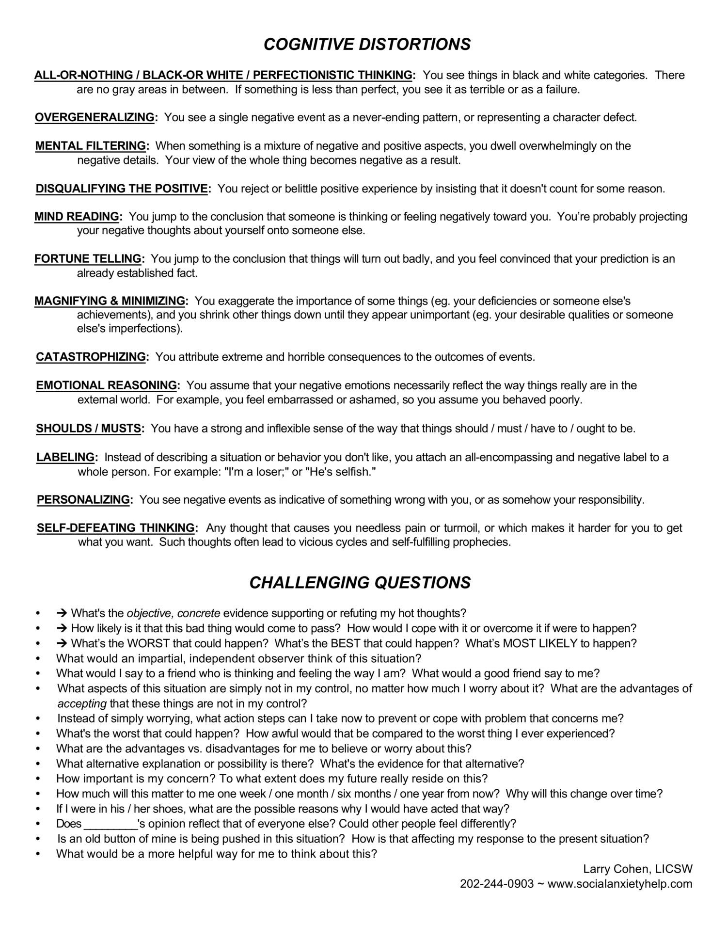 Seeking Safety Worksheets