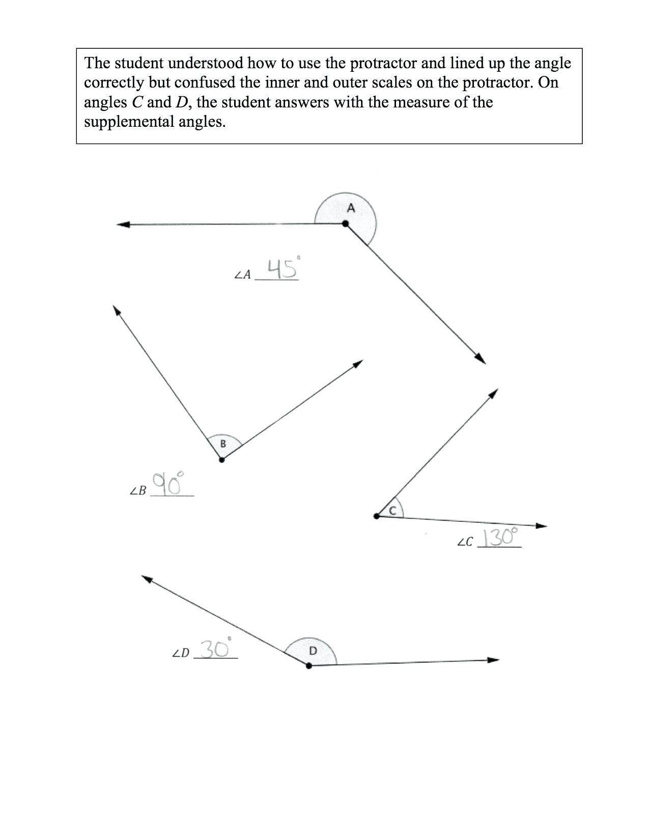 Measuring Angles Worksheet Answer Key