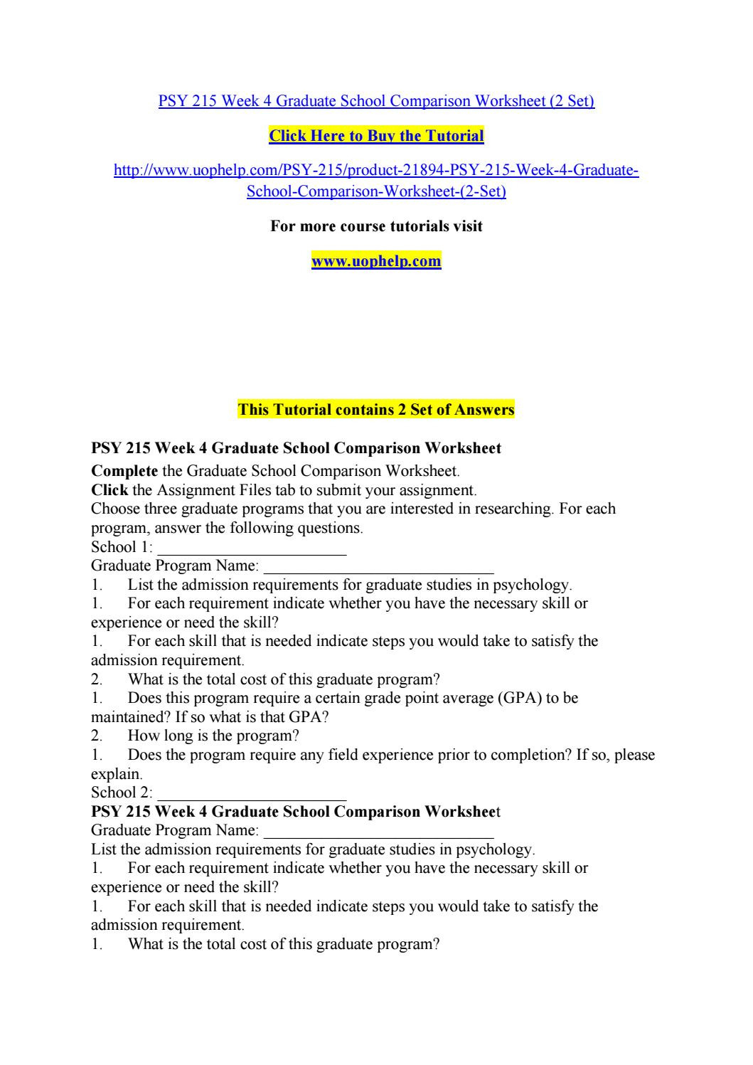 Psy 215 Week 4 Graduate School Comparison Worksheet 2 Set