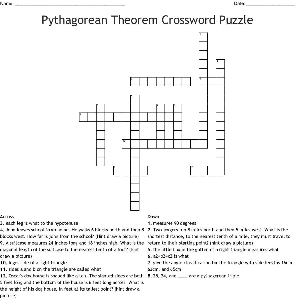 Pythagorean Theorem Crossword Puzzle Word