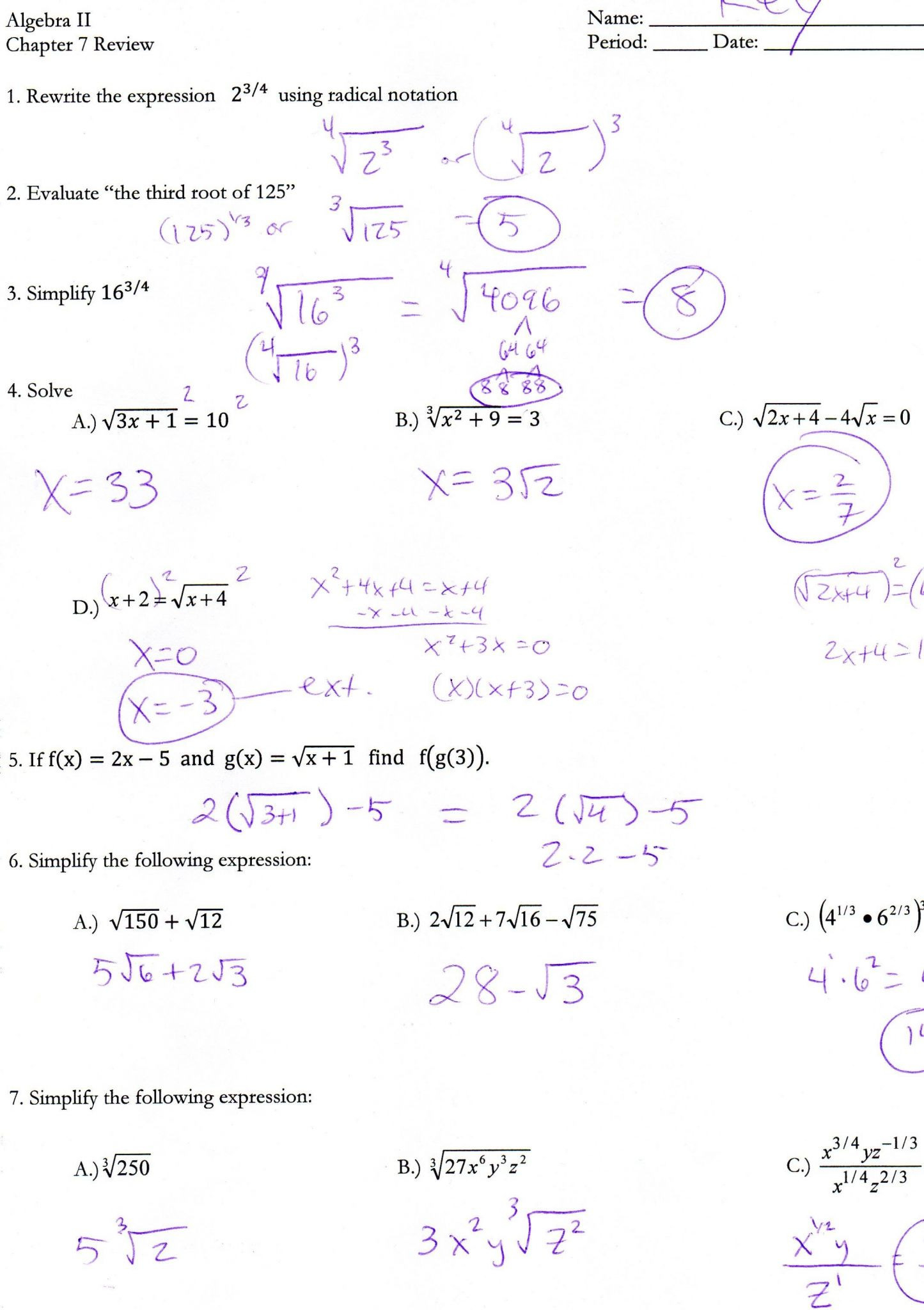 Quadratics Review Worksheet Answers