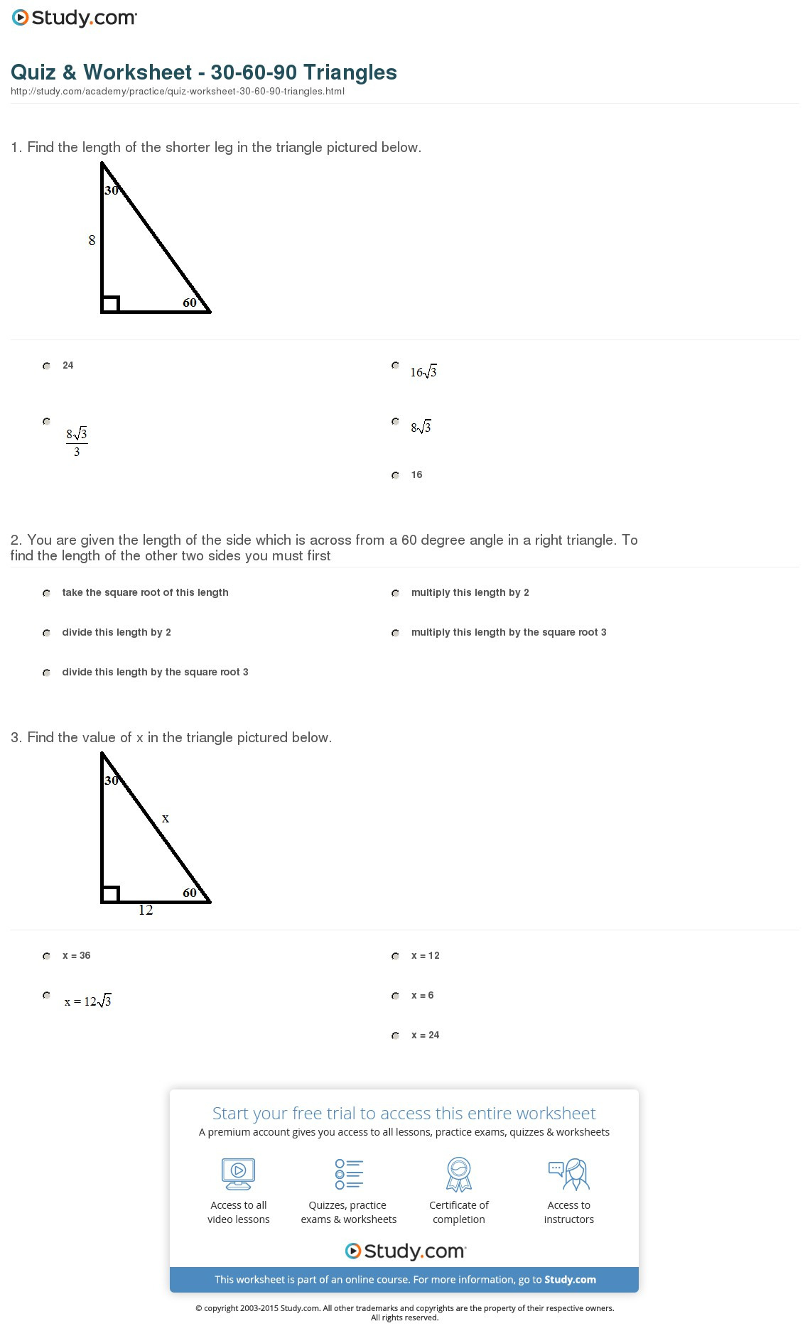 30 60 90 Triangle Practice Worksheet With Answers
