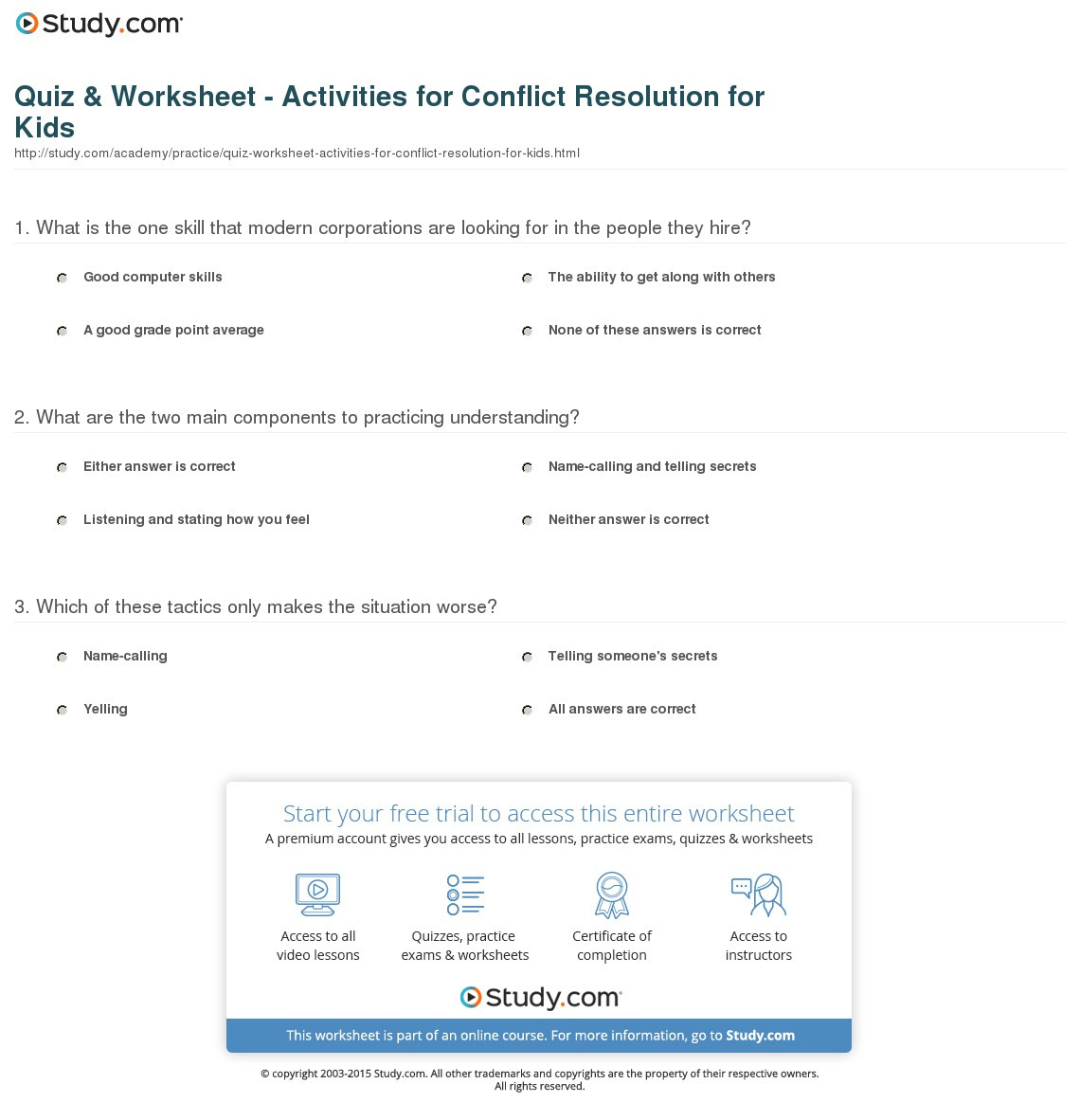 Quiz Worksheet Activities For Conflict Resolution For