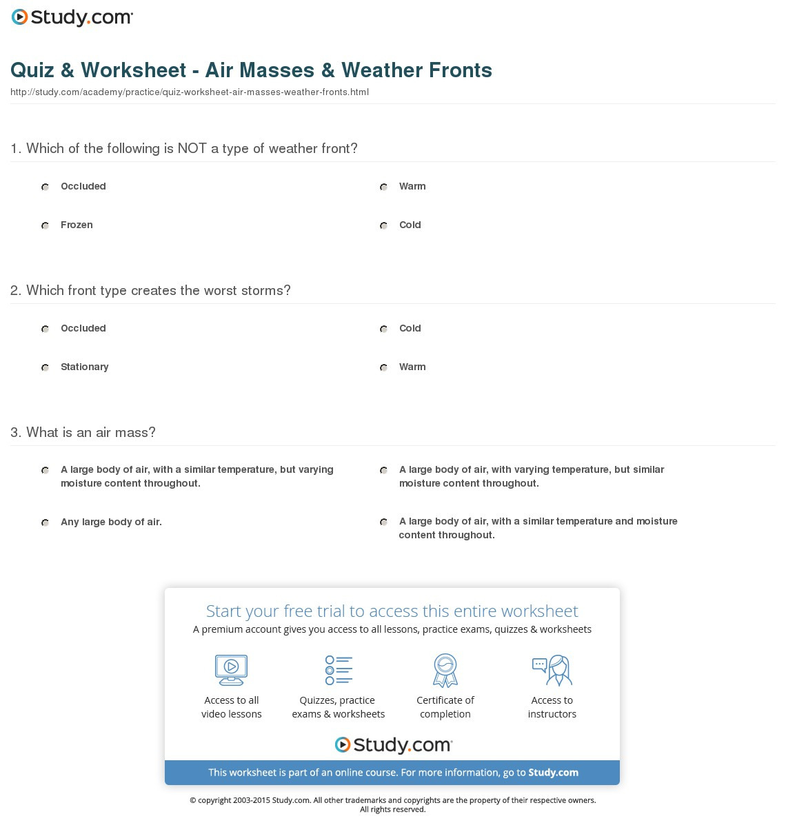 Quiz Worksheet Air Masses Weather Fronts Study