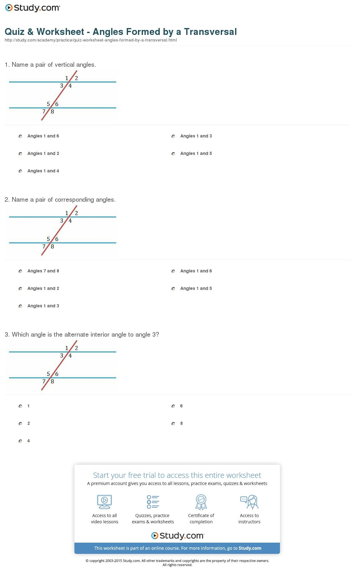 Quiz Worksheet Angles Formeda Transversal Study