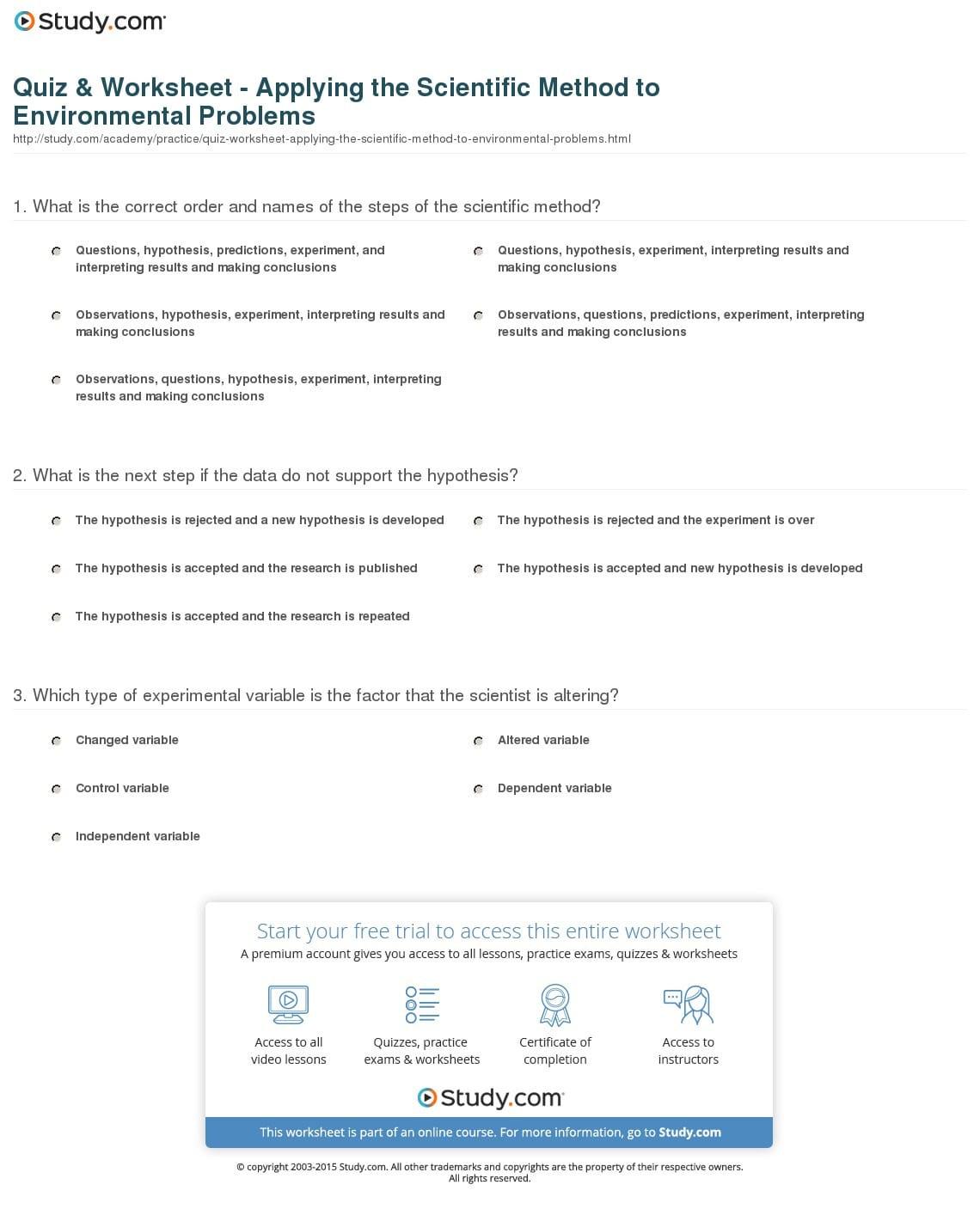 Quiz Worksheet Applying The Scientific Method To