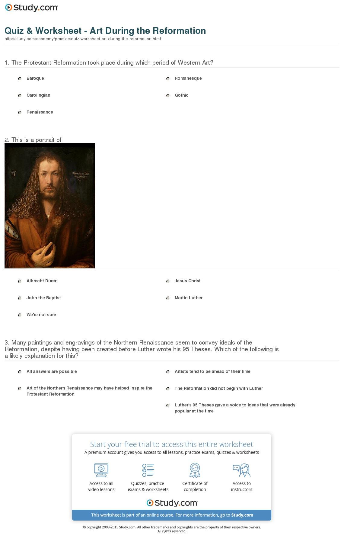Quiz Worksheet Art During The Reformation Study