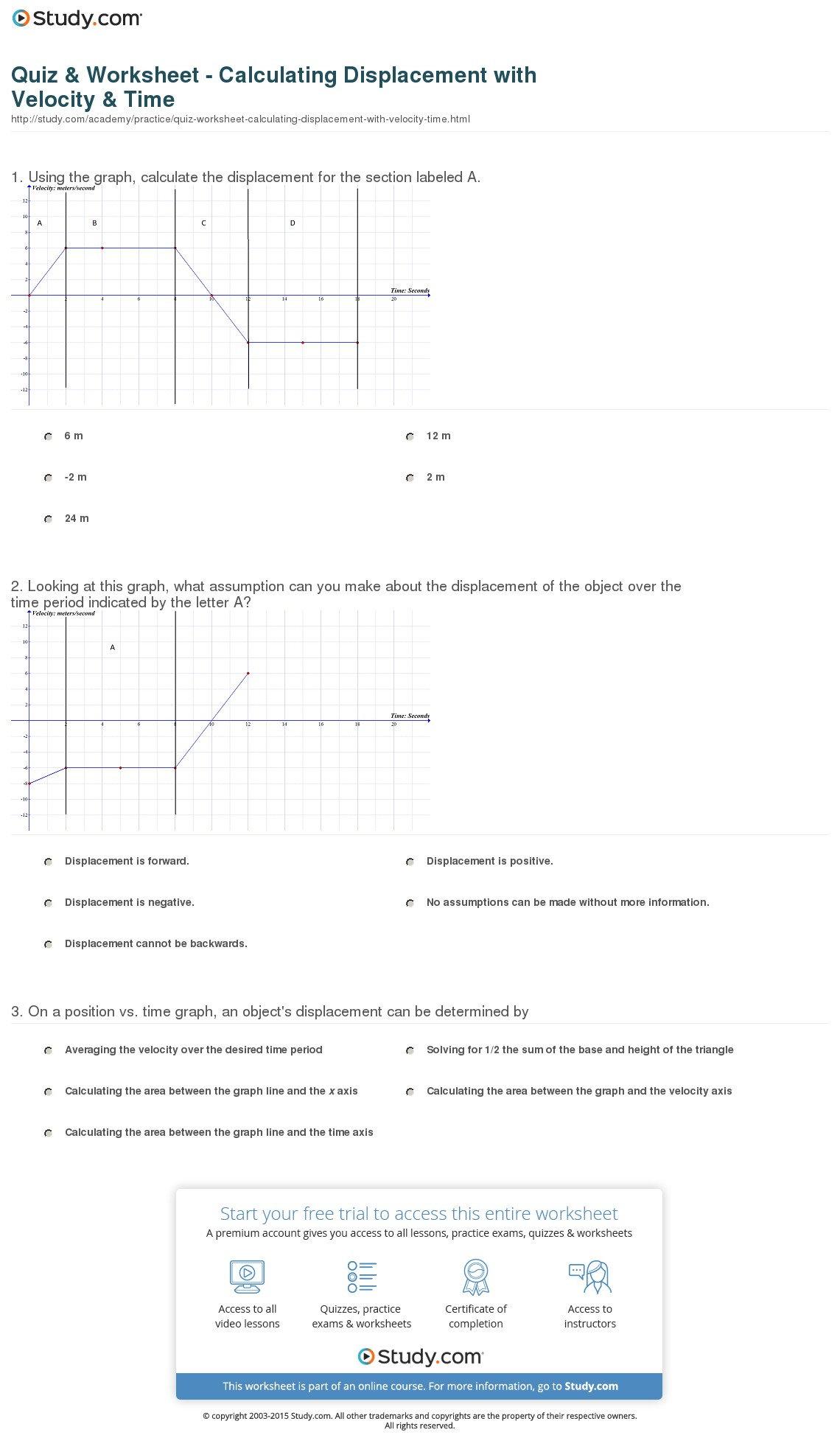 Quiz Worksheet Calculating Displacement With Velocity Time