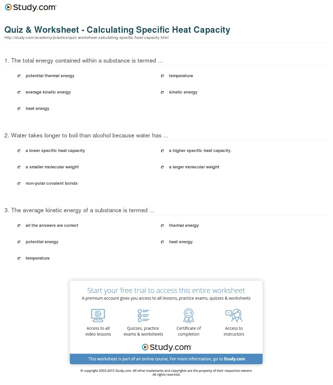 Quiz Worksheet Calculating Specific Heat Capacity
