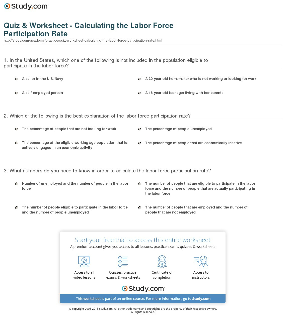 Quiz Worksheet Calculating The Labor Force Participation