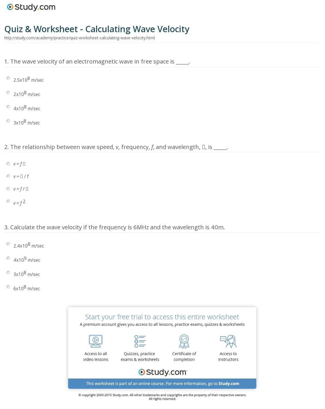 Quiz Worksheet Calculating Ve Velocity Study