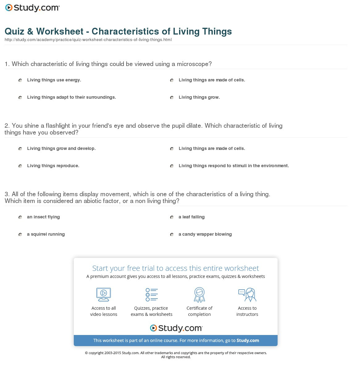 Characteristics Of Living Things Worksheet Db Excel
