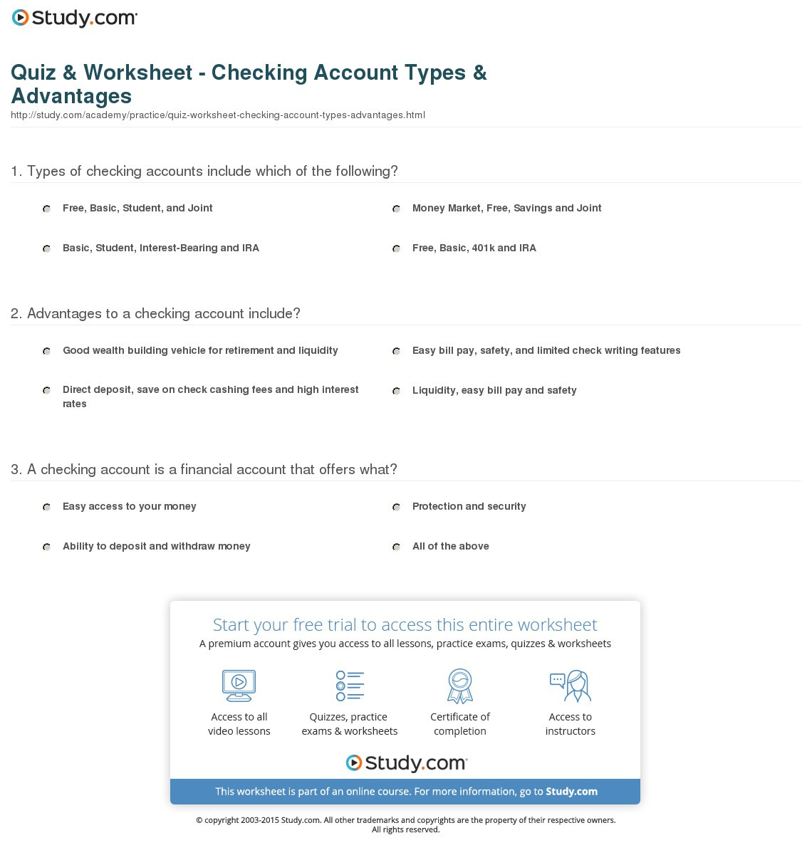 Quiz Worksheet Checking Account Types Advantages
