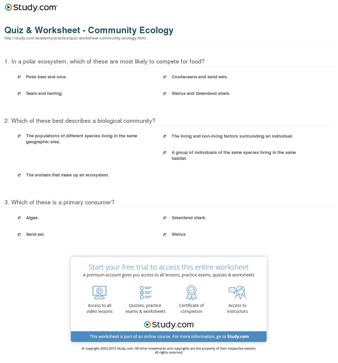 Population Community And Ecosystem Worksheet Answer Key
