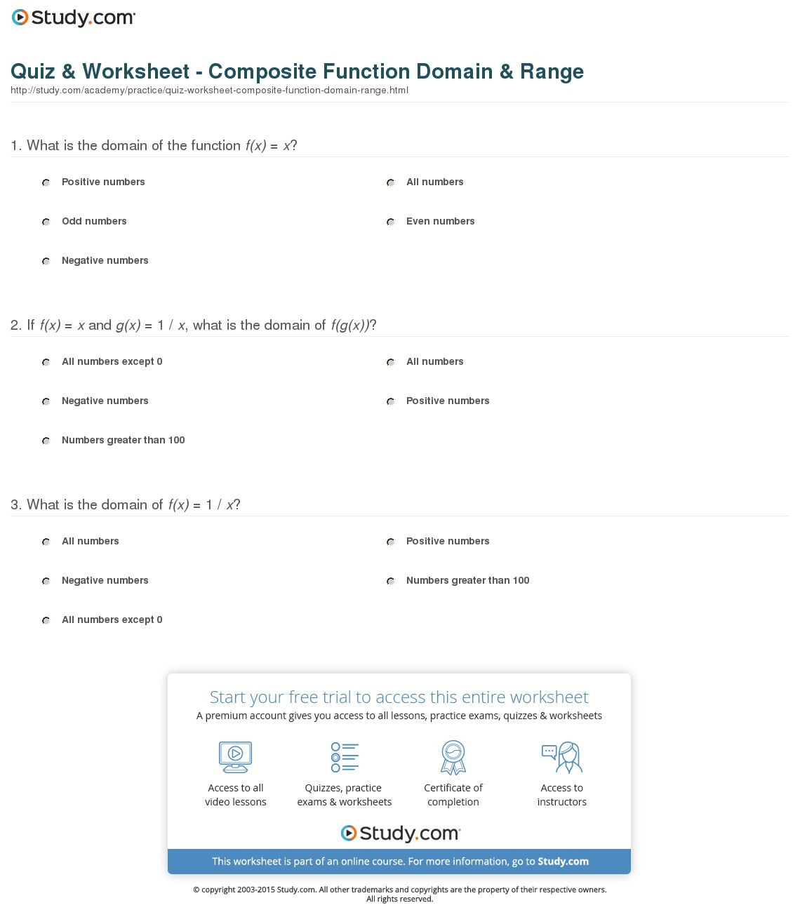 Quiz Worksheet Composite Function Domain Range Study