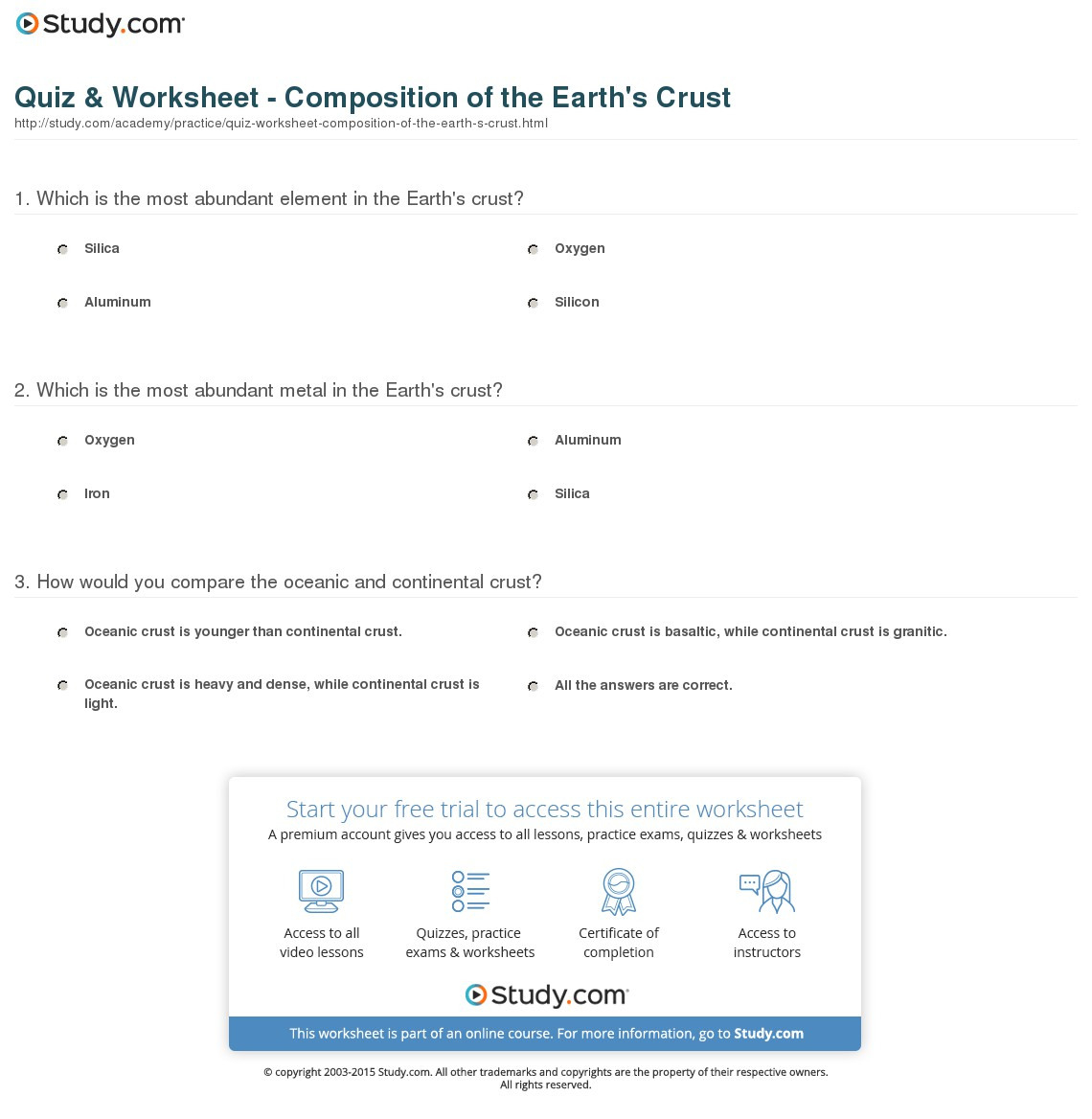 Quiz Worksheet Composition Of The Earth S Crust Study