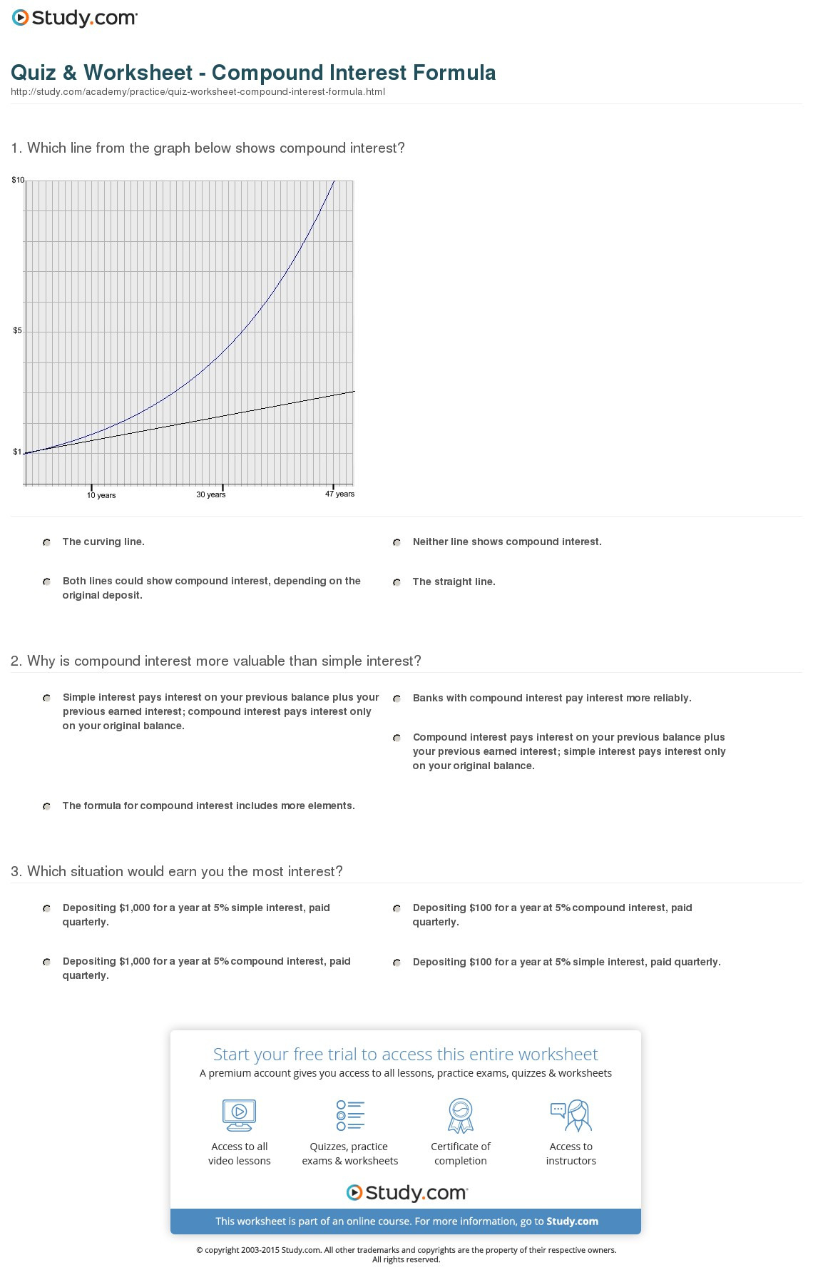 Quiz Worksheet Compound Interest Formula Study