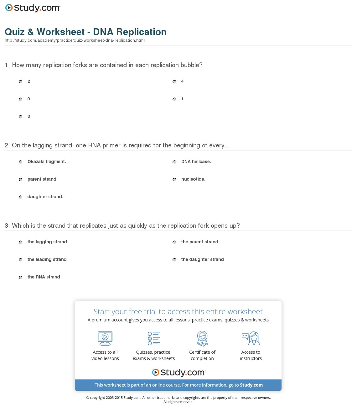 Dna Replication Practice Worksheet