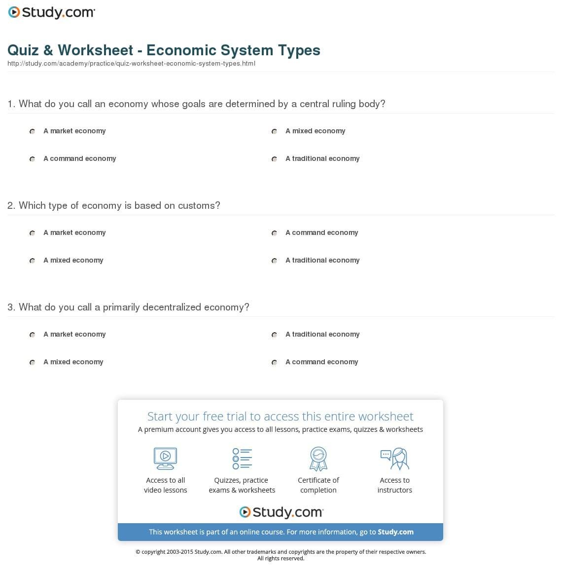 Quiz Worksheet Economic System Types Study