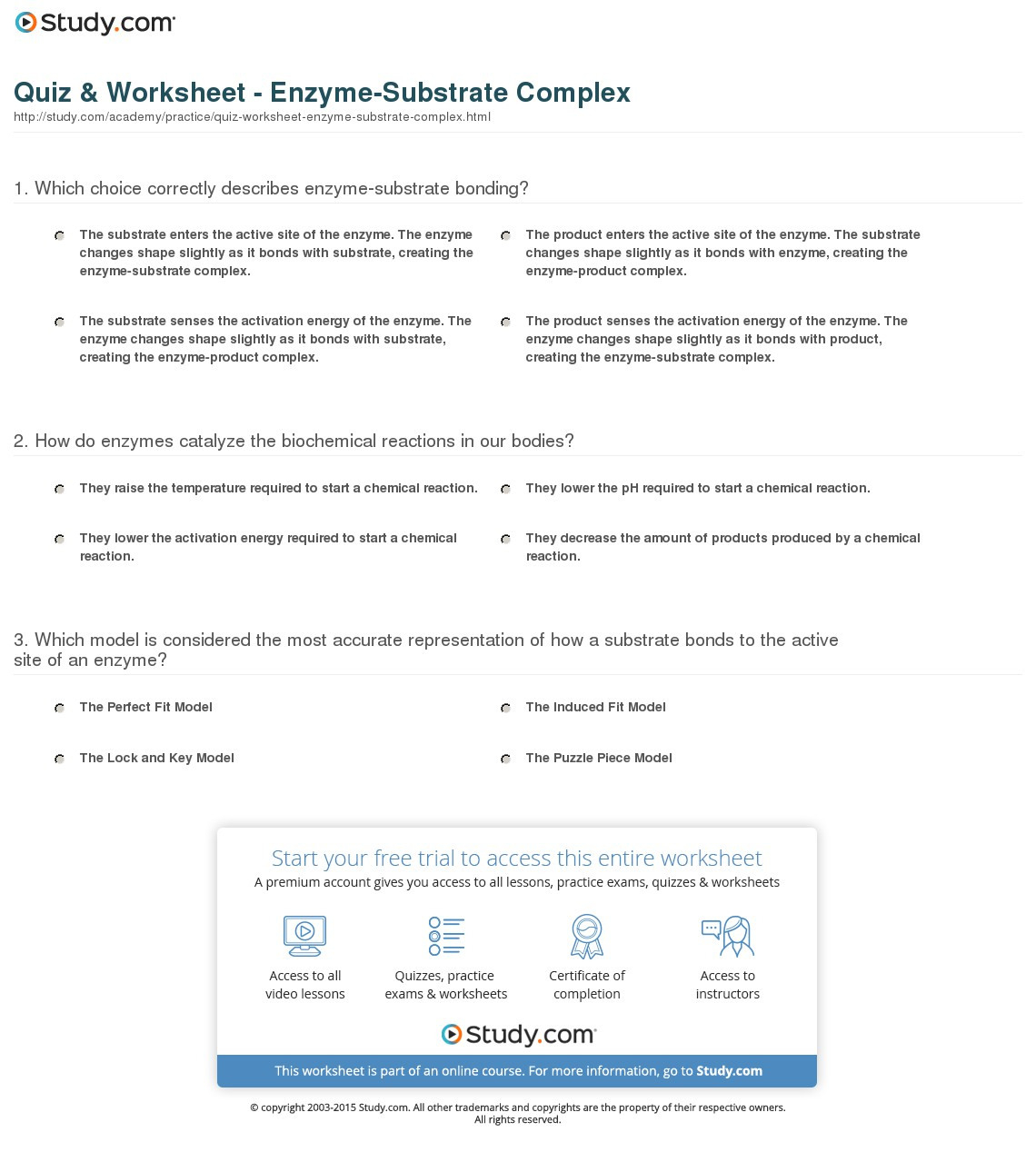 Quiz Worksheet Enzymesubstrate Complex Study