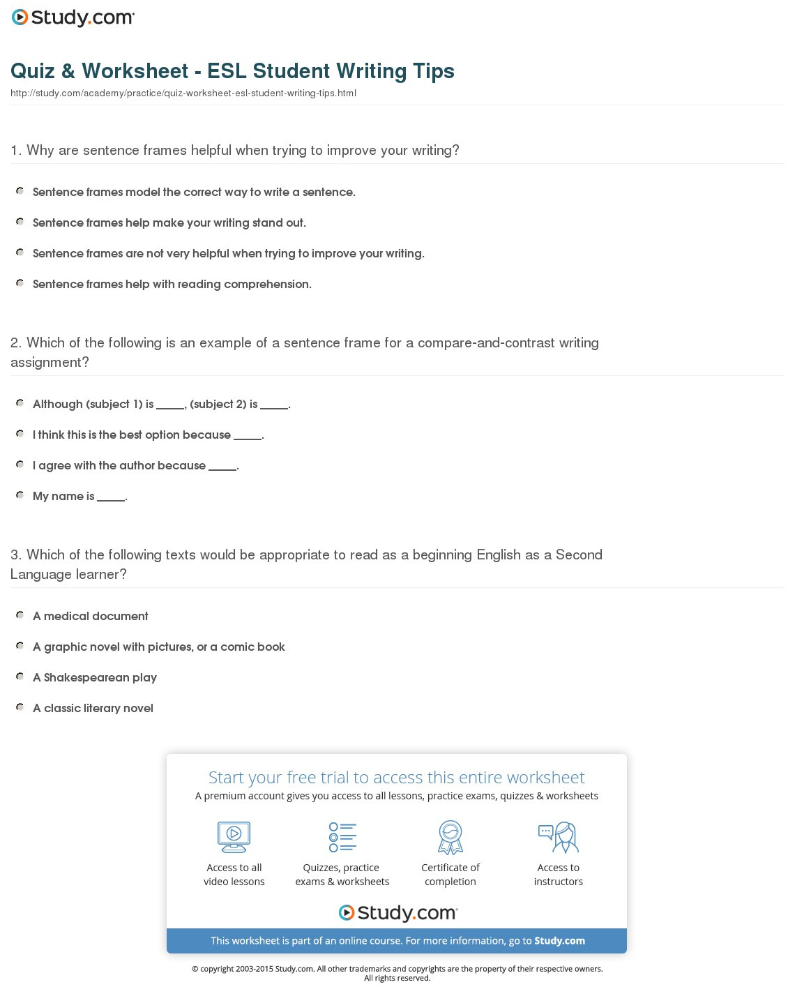 Esl Handwriting Practice Worksheets
