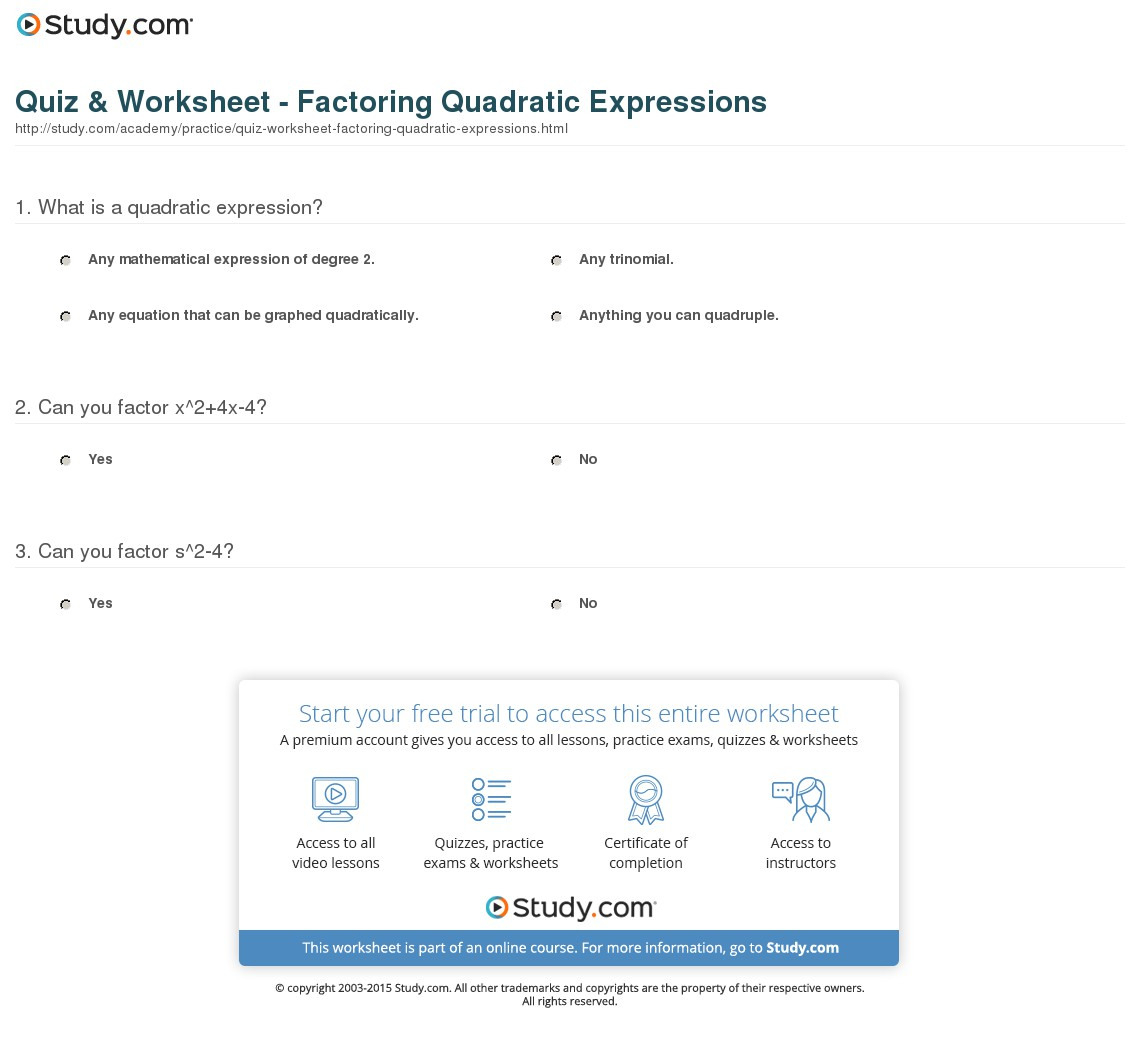 Quiz Worksheet Factoring Quadratic Expressions Study