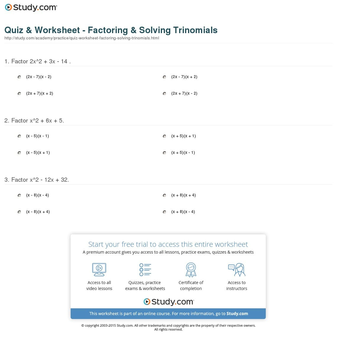 Factoring Review Worksheet