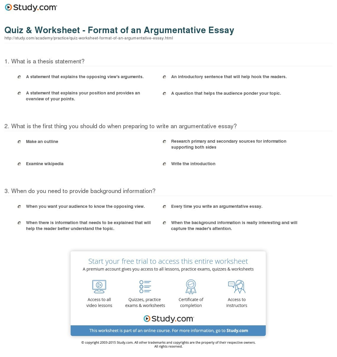 Quiz Worksheet Format Of An Argumentative Essay Study