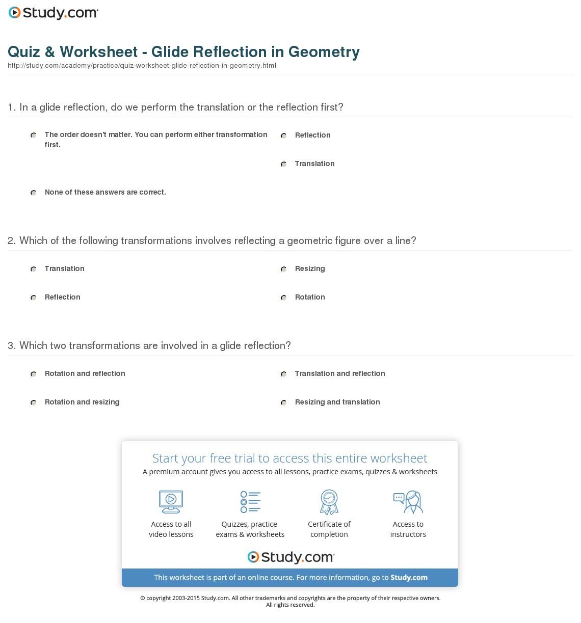 Geometry Reflection Worksheet