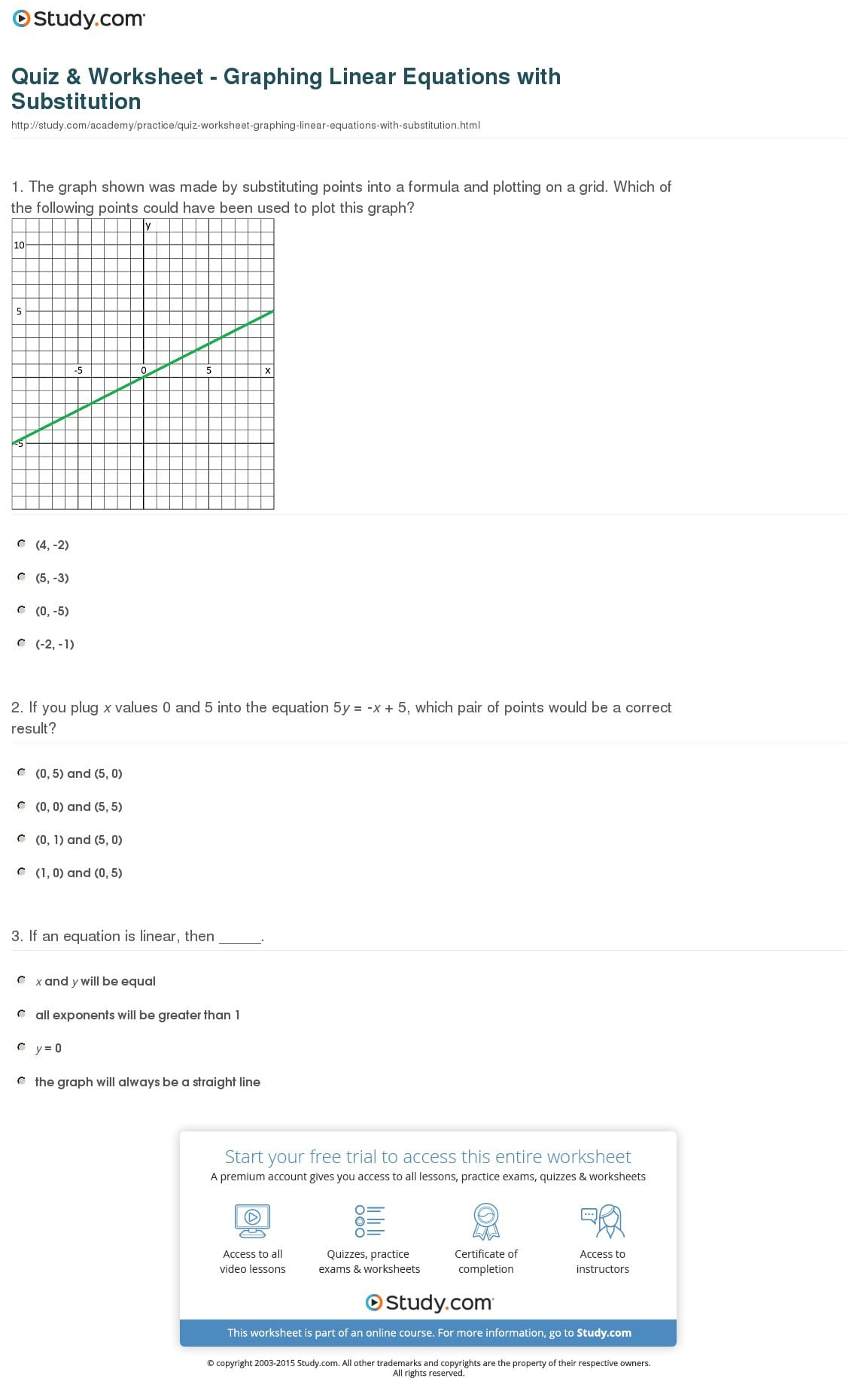 Quiz Worksheet Graphing Linear Equations With