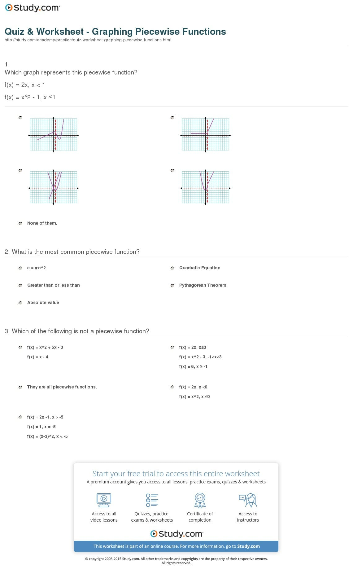 Quiz Worksheet Graphing Piecewise Functions Study