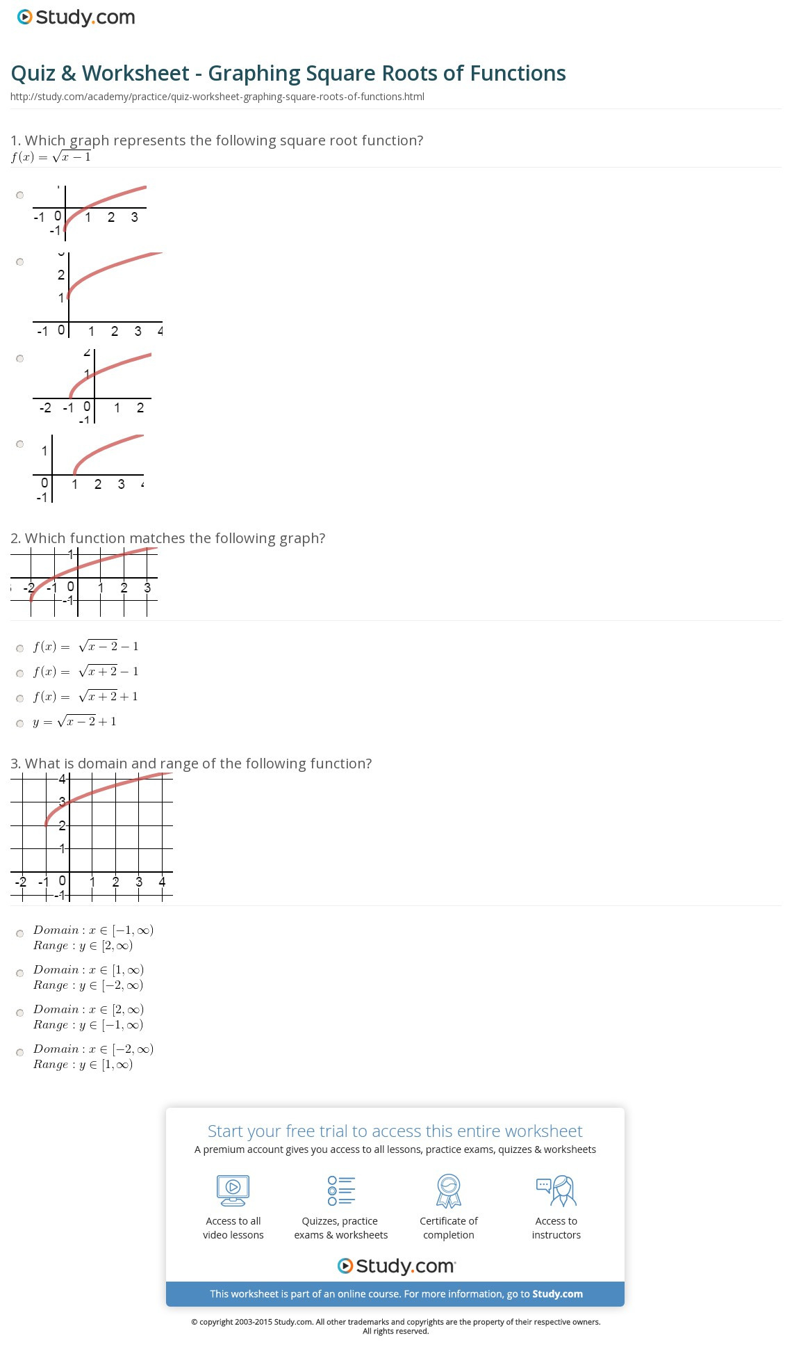 Graphing Square Root Functions Worksheet Answers