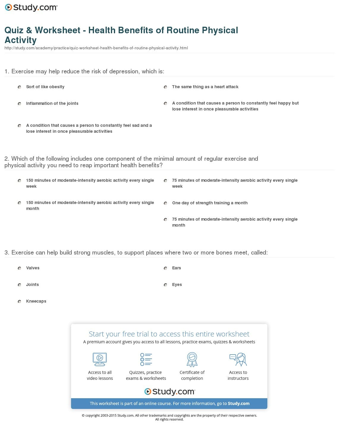Quiz Worksheet Health Benefits Of Routine Physical