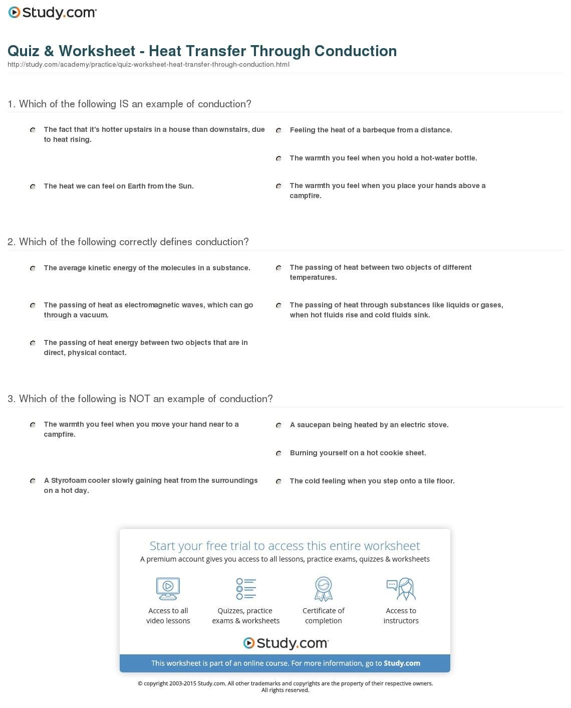 Heat Transfer Activity Worksheet