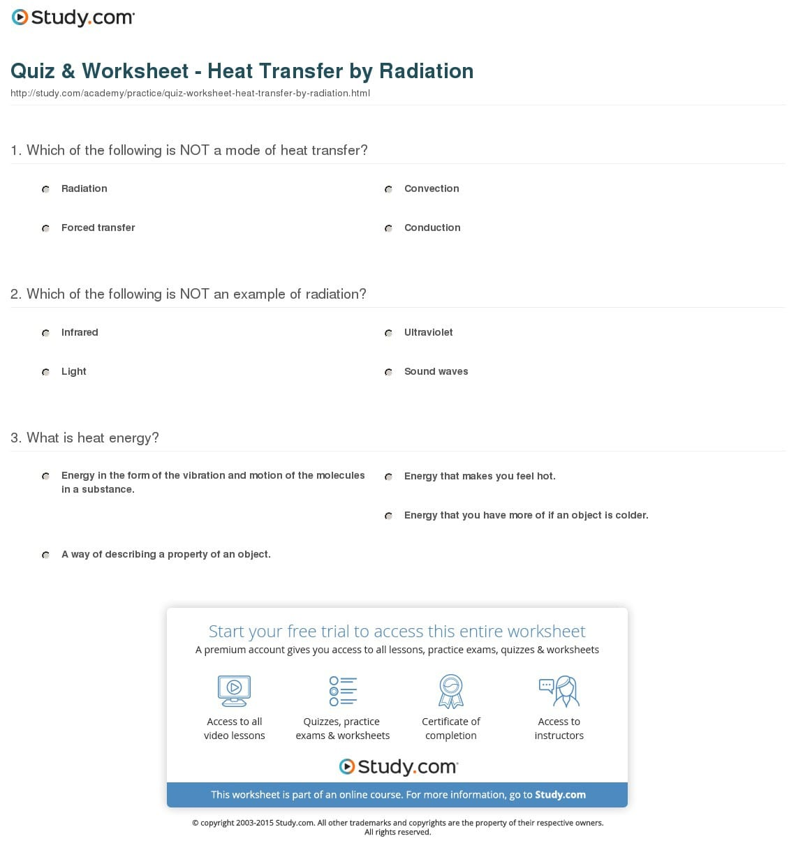 Quiz Worksheet Heat Transferradiation Study