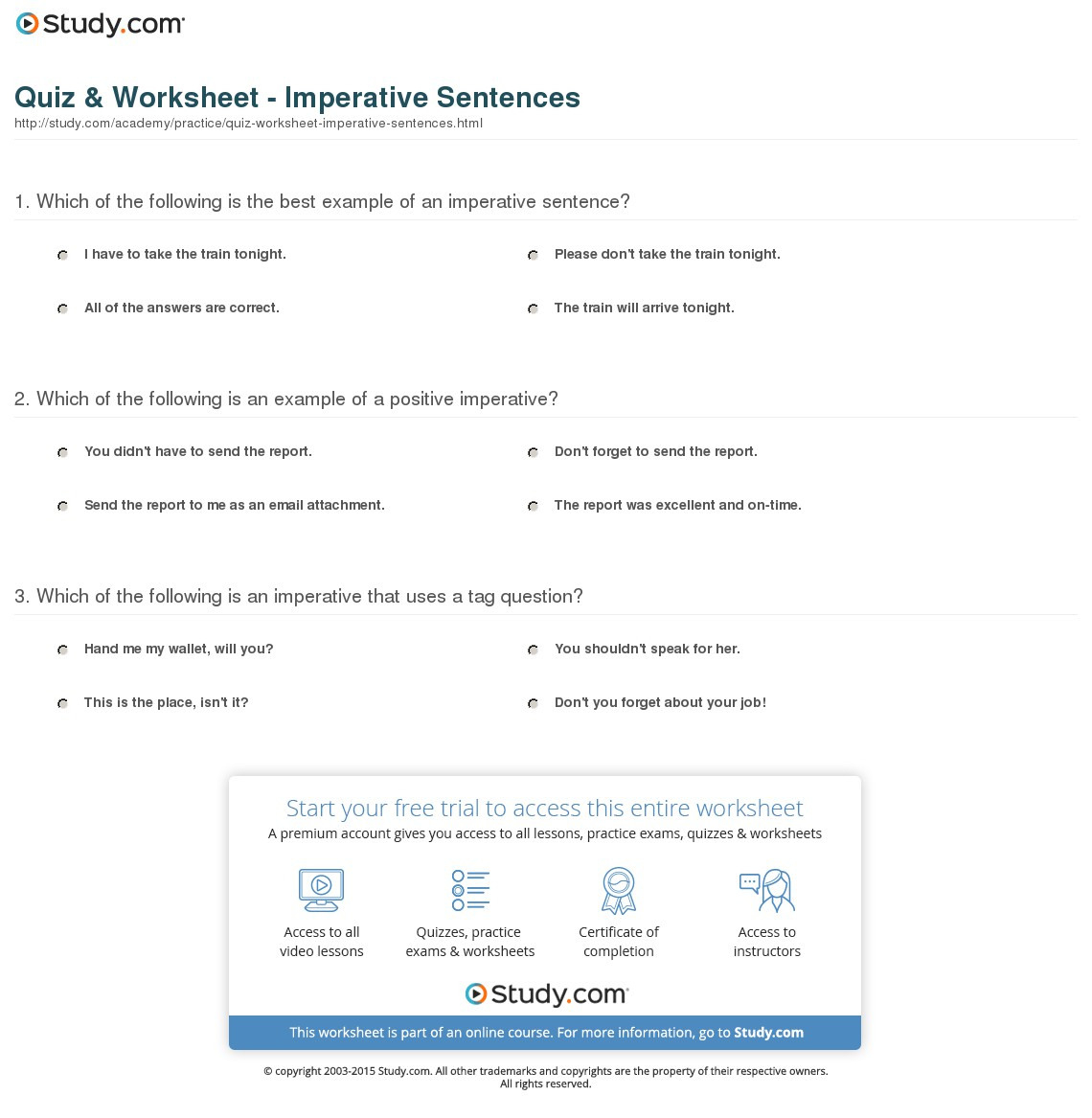 Quiz Worksheet Imperative Sentences Study