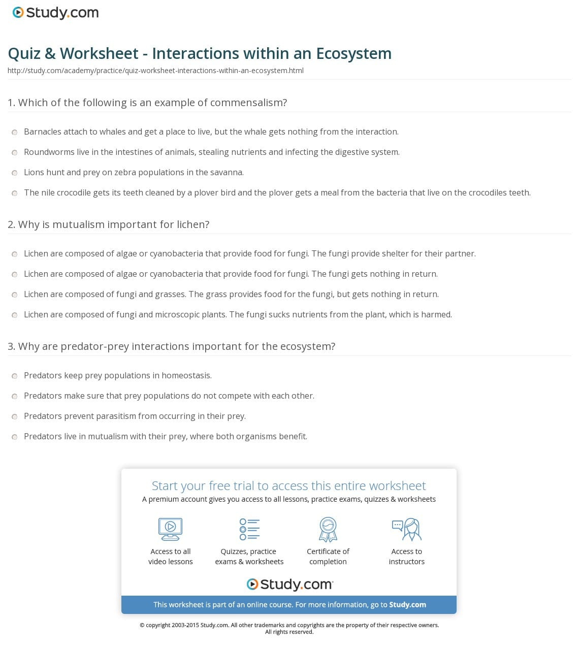 Quiz Worksheet Interactions Within An Ecosystem Study