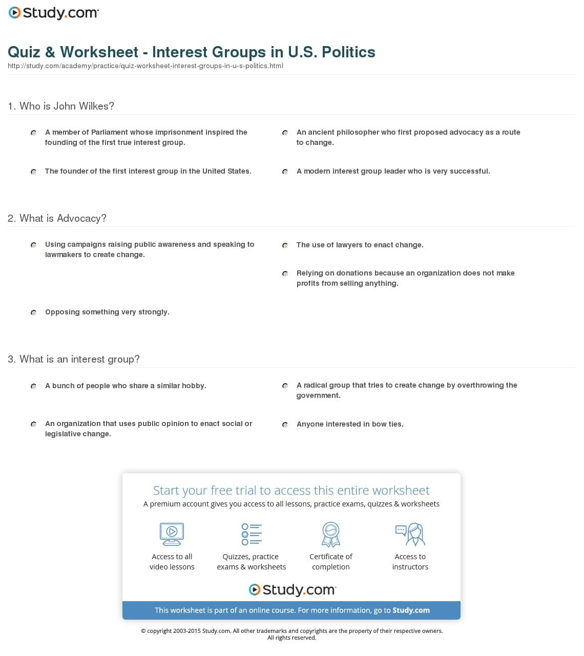 Interest Groups Worksheet Answers