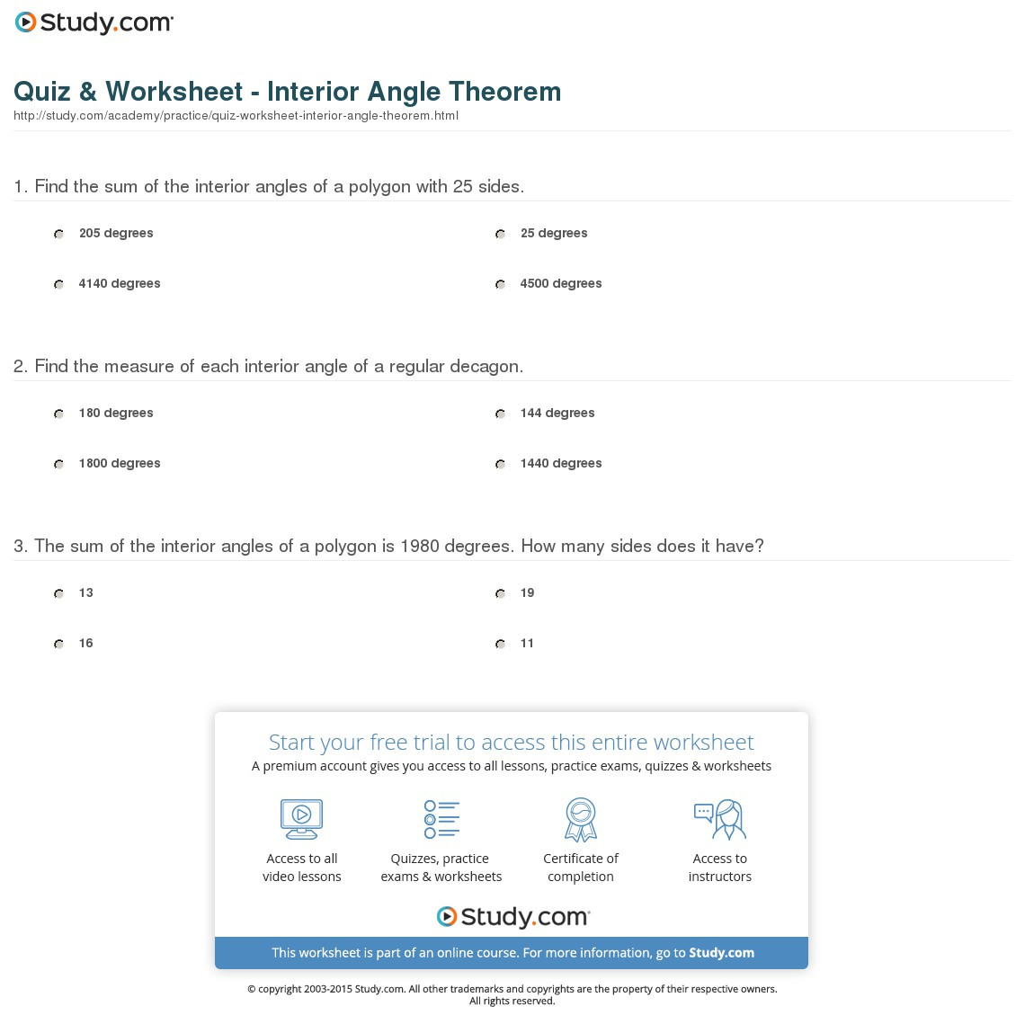 Quiz Worksheet Interior Angle Theorem Study