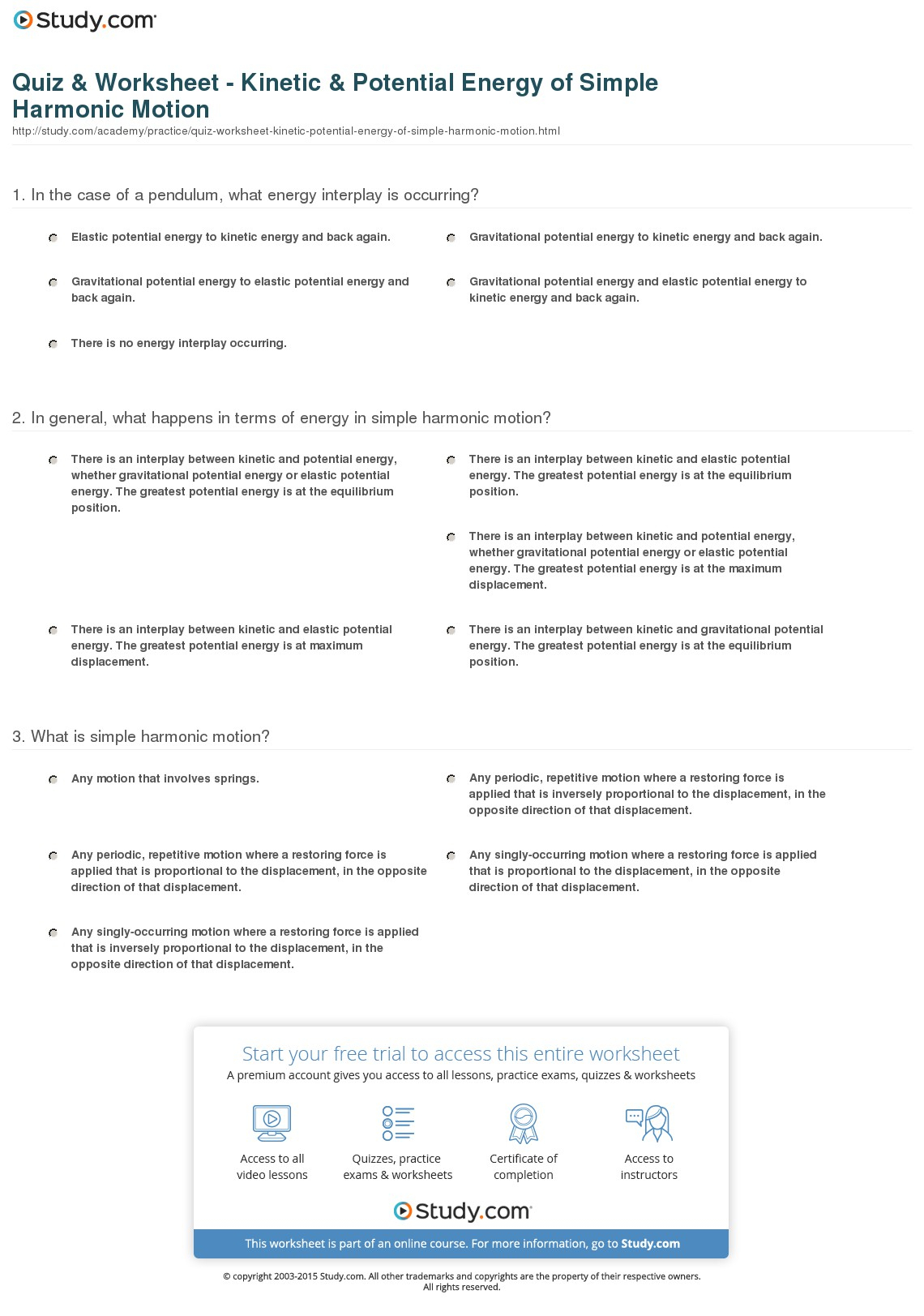 Quiz Worksheet Kinetic Potential Energy Of Simple Harmonic