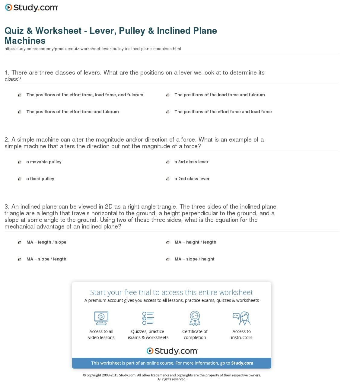 Quiz Worksheet Lever Pulley Inclined Plane Machines