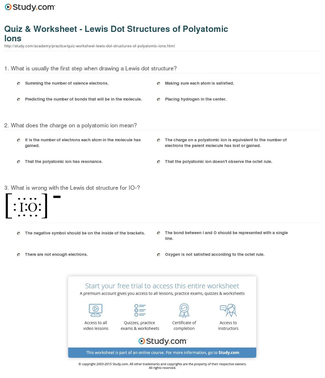 Quiz Worksheet Lewis Dot Structures Of Polyatomic Ions