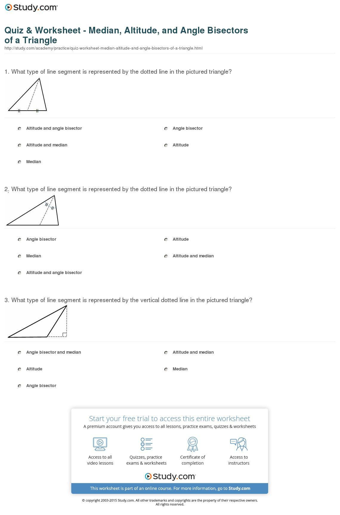 Quiz Worksheet Median Altitude And Angle Bisectors Of A