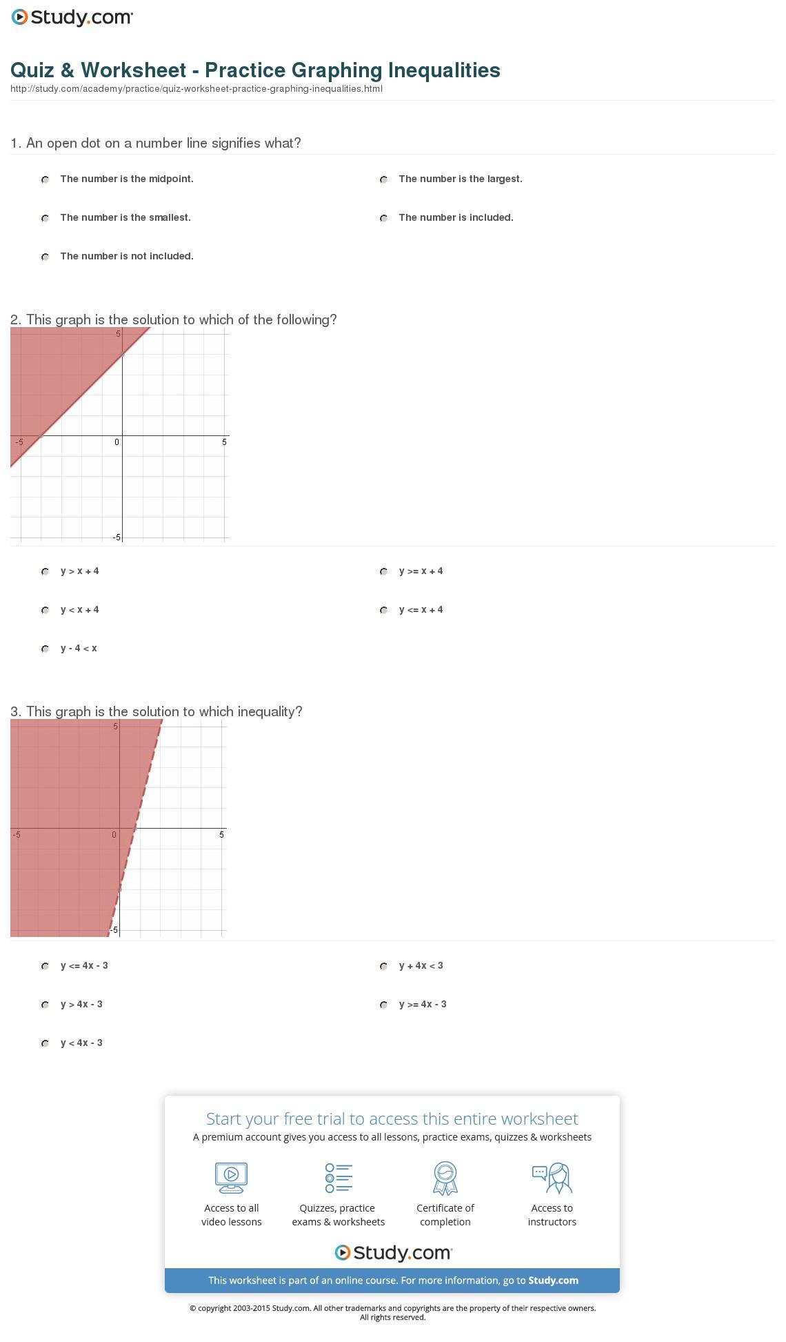 Quiz Worksheet Practice Graphing Inequalities Study