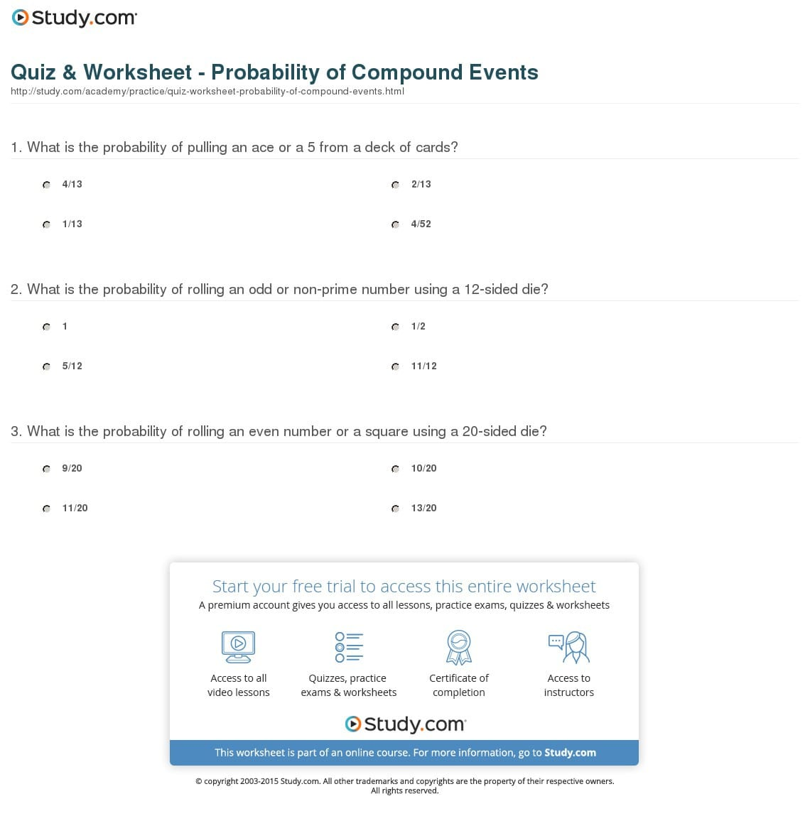 Probability Of Compound Events Worksheet With Answer Key