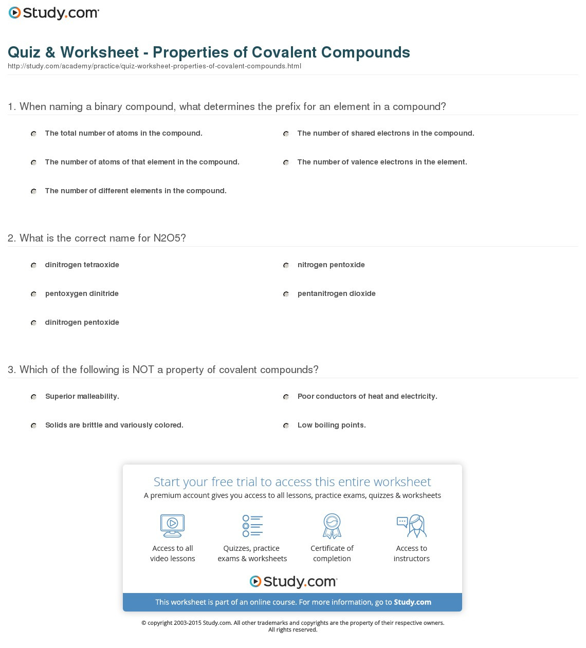 Quiz Worksheet Properties Of Covalent Compounds Study