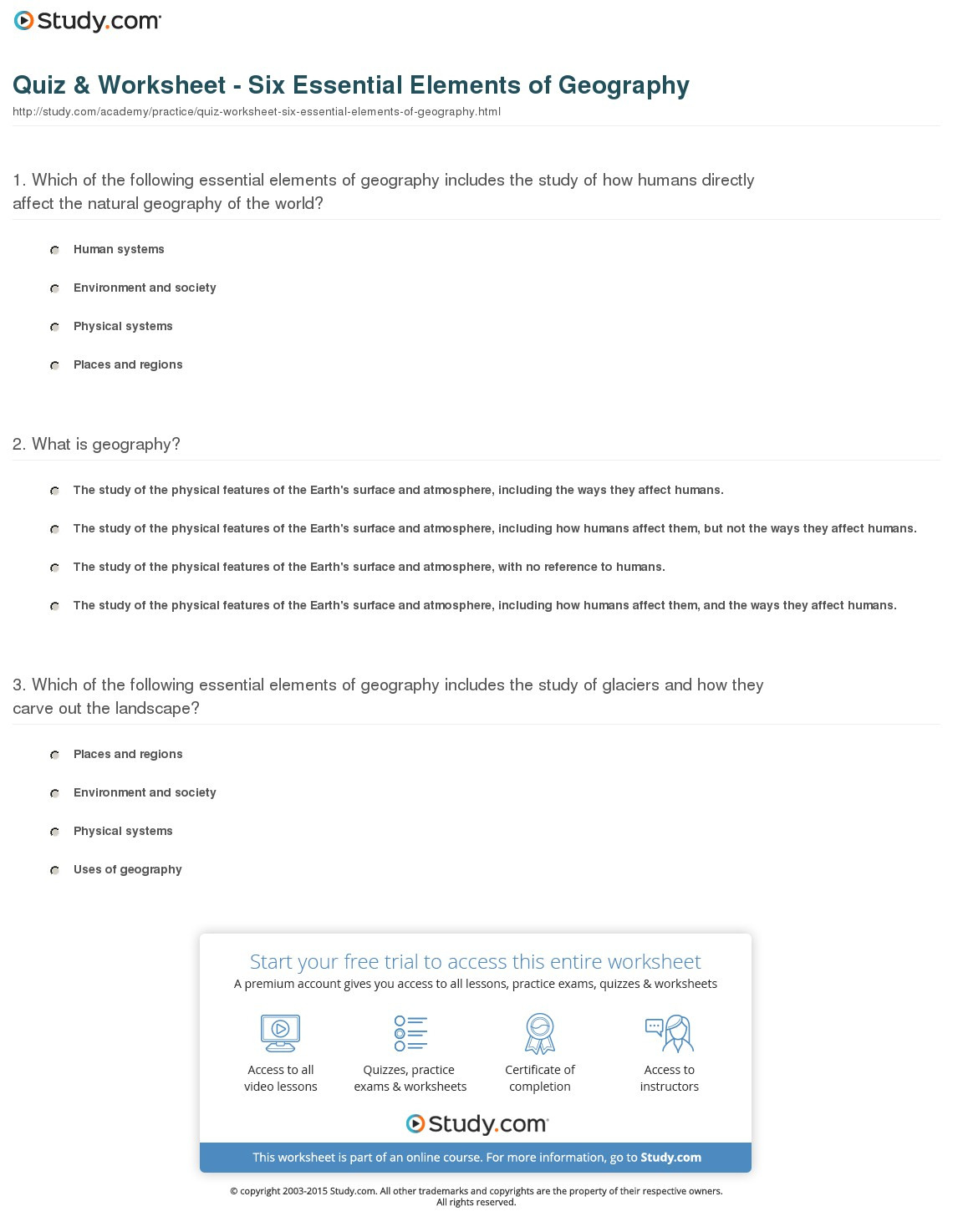 Quiz Worksheet Six Essential Elements Of Geography