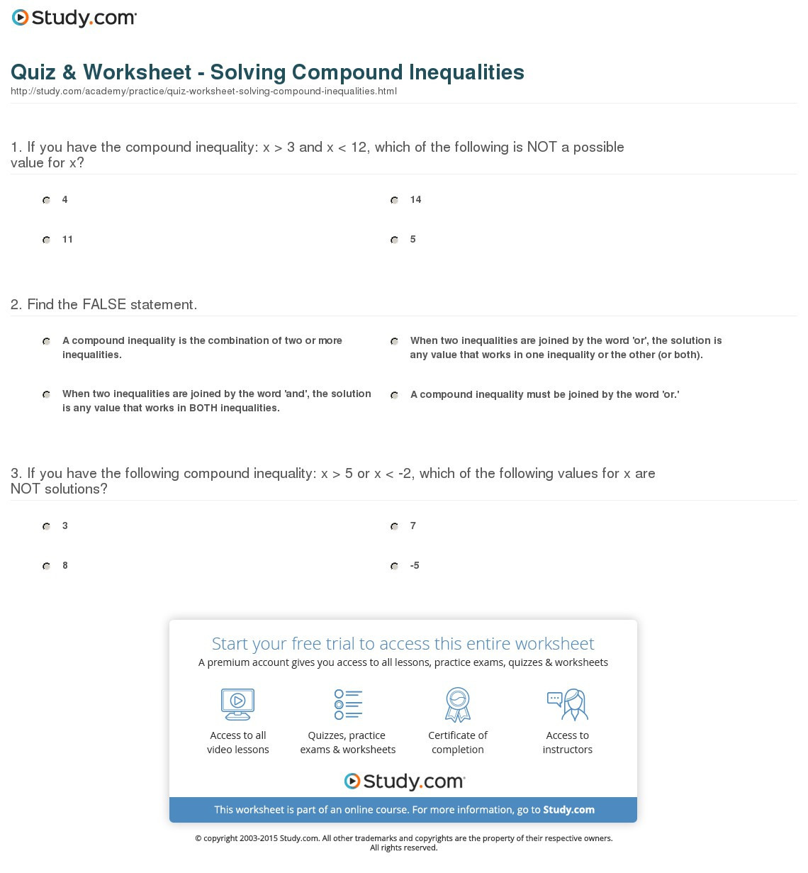 Quiz Worksheet Solving Compound Inequalities Study