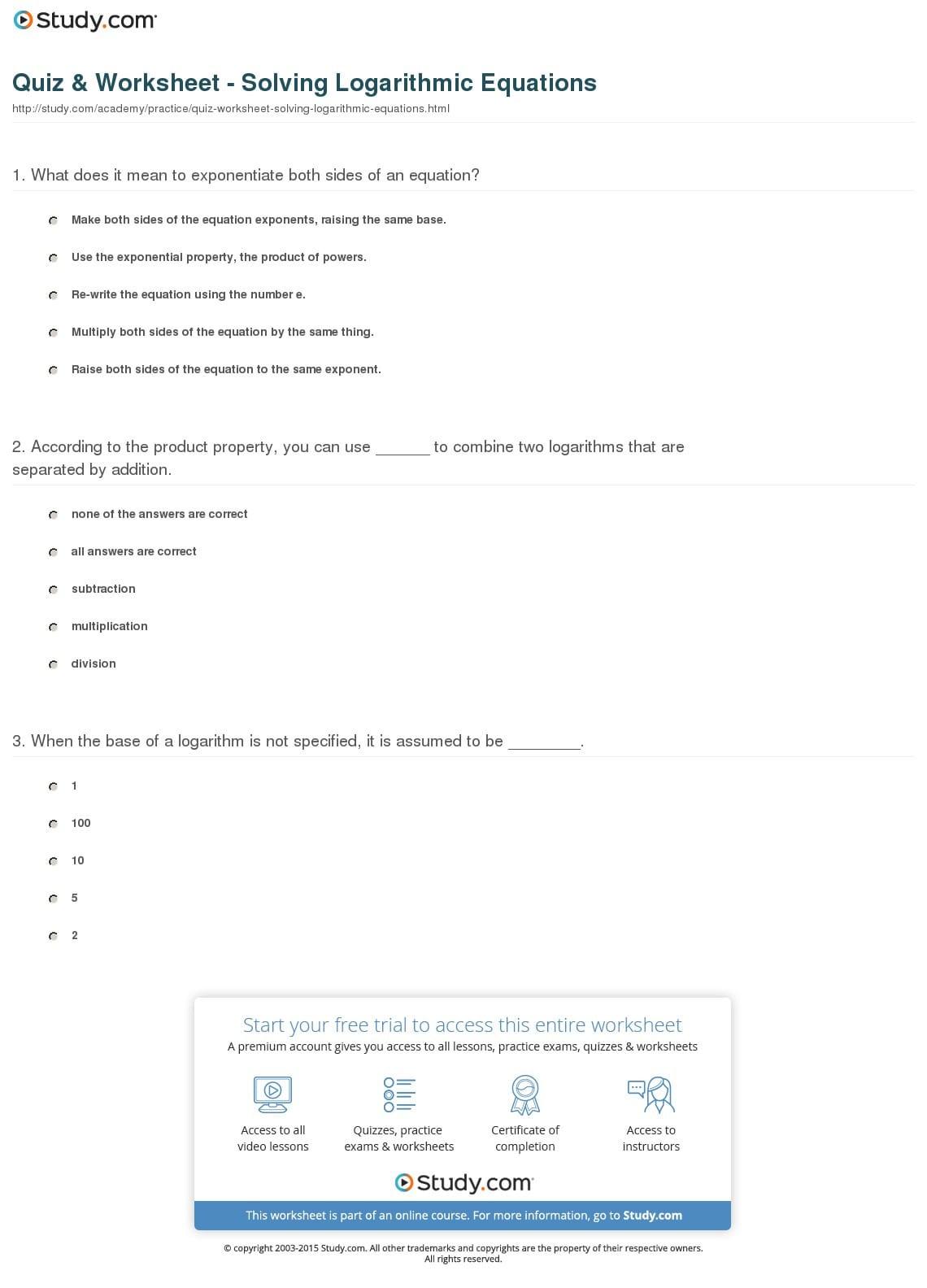 Quiz Worksheet Solving Logarithmic Equations Study